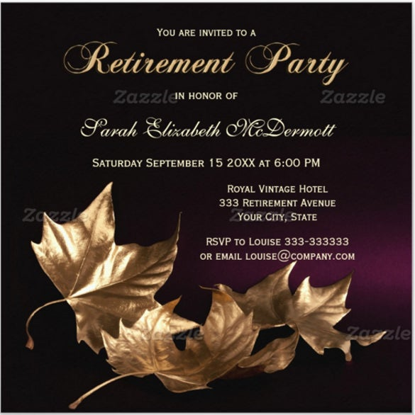 elegant golden leaves retirement party invitation
