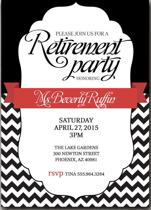 retirement invitation black with a touch of red or pick any color accent