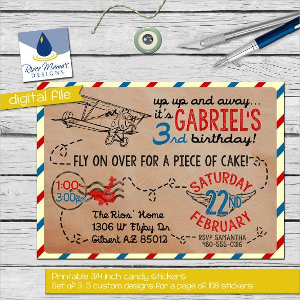 aeroplane theme vintage postcard birthday invitation