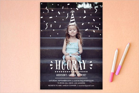 confetti children postcard birthday party invitation
