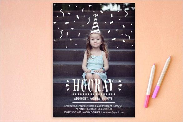 confetti children postcard birthday party invitation