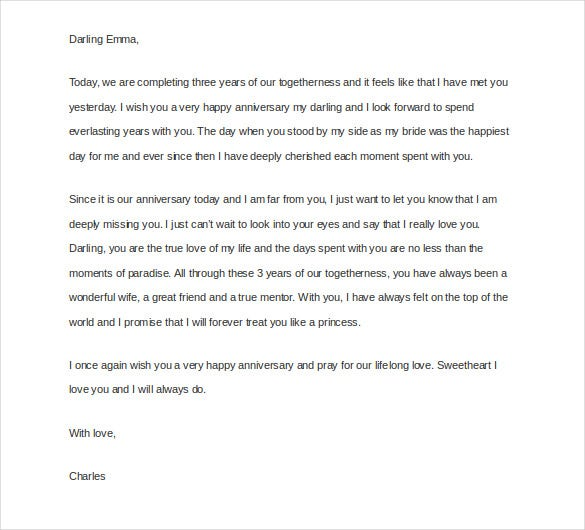 Love Letter To My Wife On Our Anniversary  Love Letter Templates Free