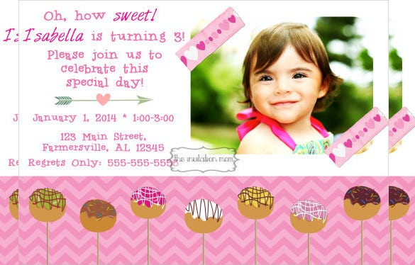 pink chevron postcard birthday invitation for girls with custom photograph