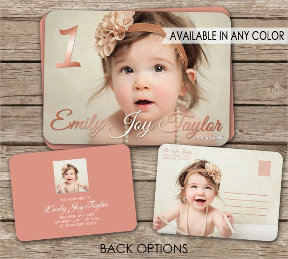 printable birthday invitation postcard with photograph in various colours