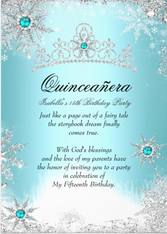 quinceanera 15th winter wonderland silver blue invitation card