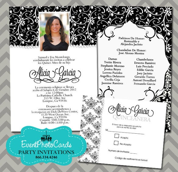 black white quinceanera set printable
