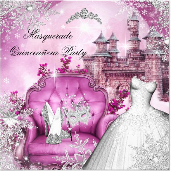 quinceanera masquerade magical princess pink invitation