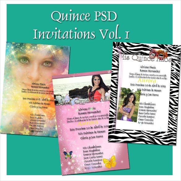 photoshop templates for quinceaneras invitation psd