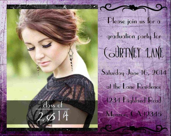 purple photo invitation or announcement for graduation quinceanera