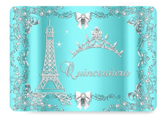 princess quinceanera magical teal blue silver invitation card