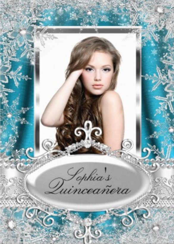 teal silver sparkle jewel snowflake quinceanera invitation card