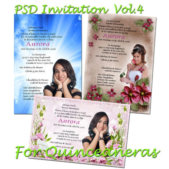 psd photoshop templates for quinceaneras invitation for all