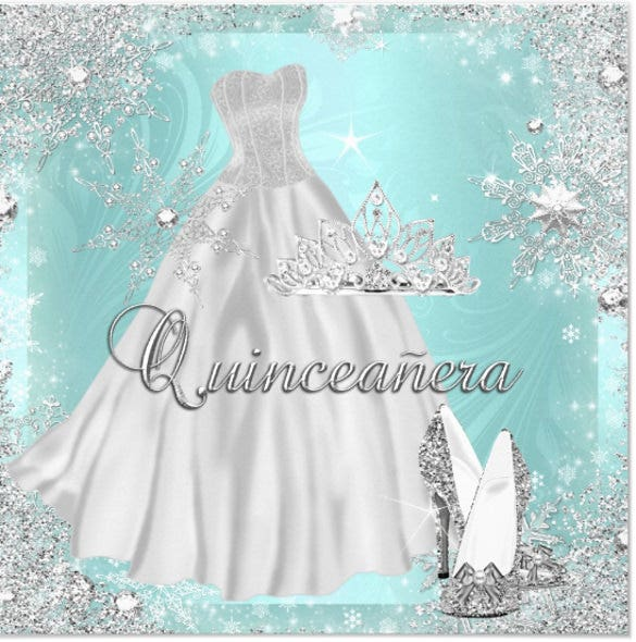 quinceanera 15th teal silver birthday party invitation