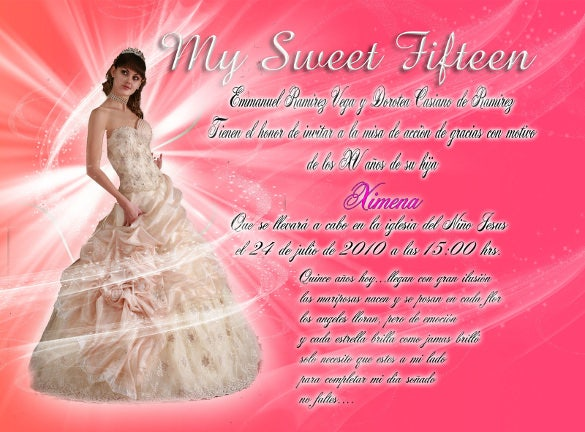 quinceaneras sweet teenage invitation