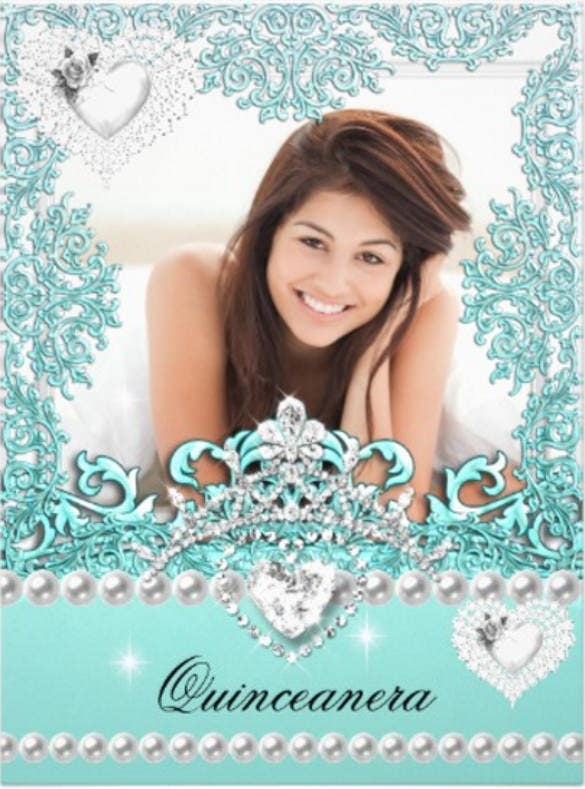 quinceanera 15th birthday teal blue silver white paper invitation card