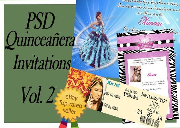 photoshop templates for quinceaneras invitations vol