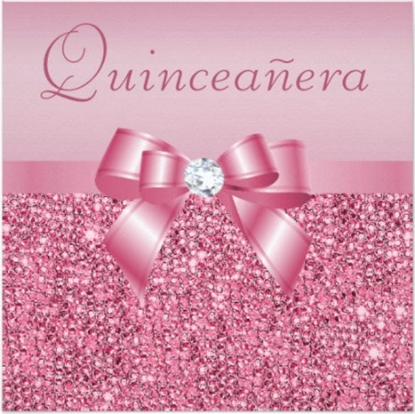 pink printed sequins bow quinceanera invitation