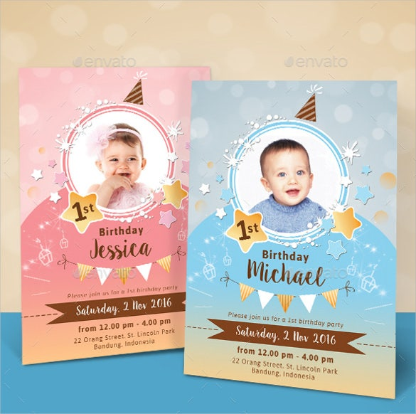sparkling colourful kids birthday invitation template