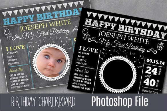 chalkboard style kids birthday invitation