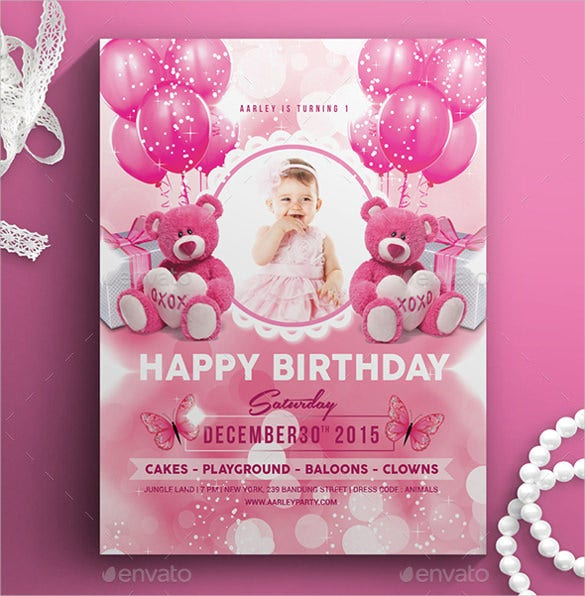 Pink Colour Kids Birthday Invitation Template. Download  Birthday Invite Templates Free To Download