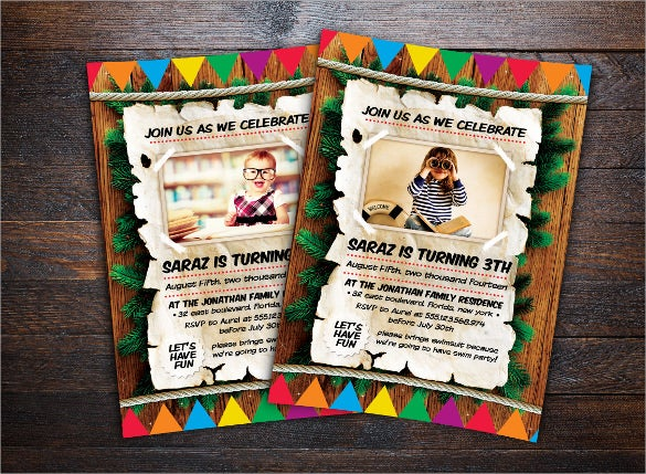 customizable colourful and unique kids birthday invitation
