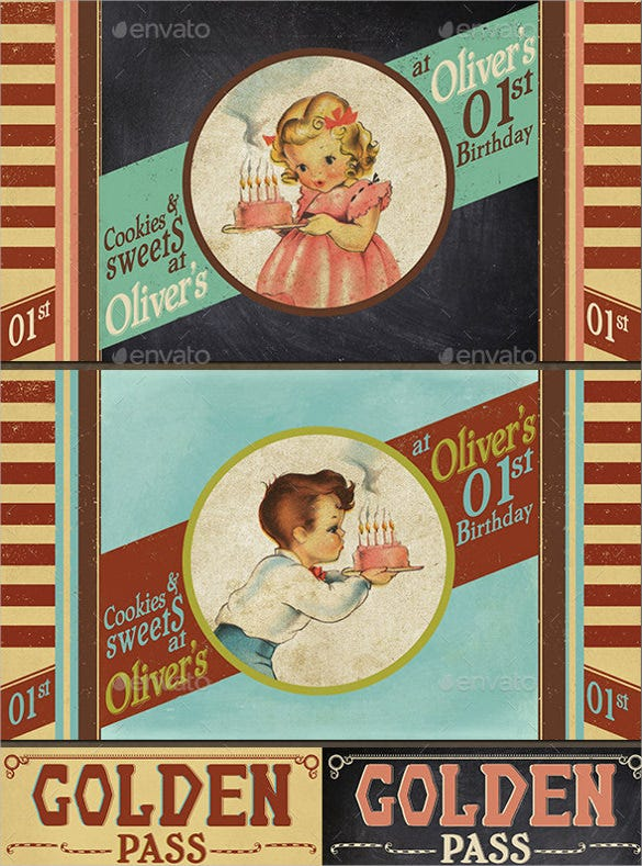 vintage kids birthday invitation