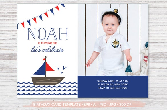 Navy Theme Kids Birthday Invitation With Custom Photo