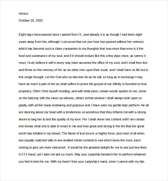 10 Love Letter Templates of Great Men Free Sample Example – Templates for Love Letters