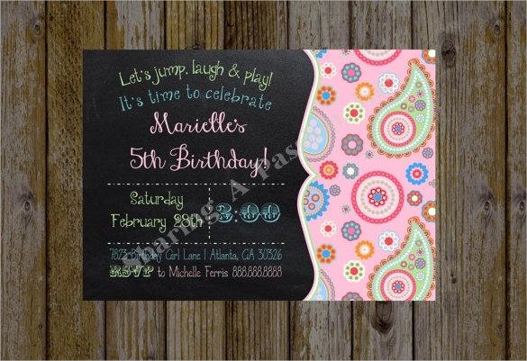 chalkboard style pink designed kids birthday invitation for girls