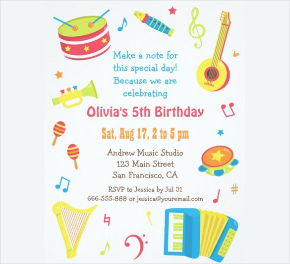 beau Colourful Music Instruments Kids Birthday Party Invitations