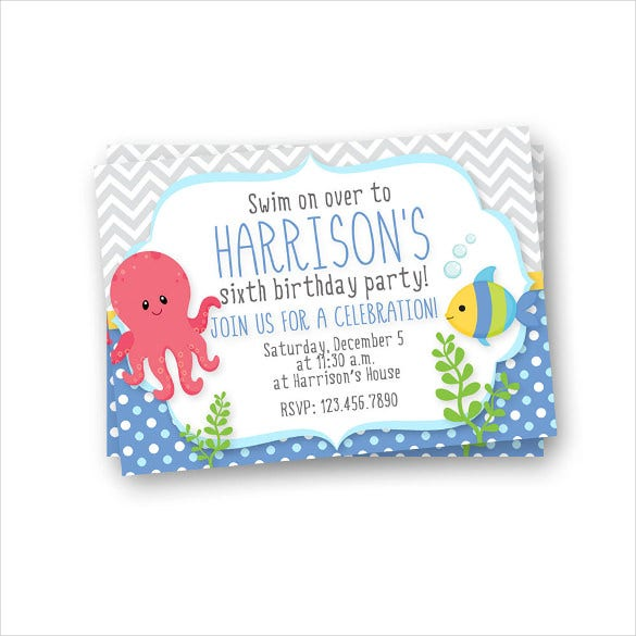 simple under the sea kids birthday invitation
