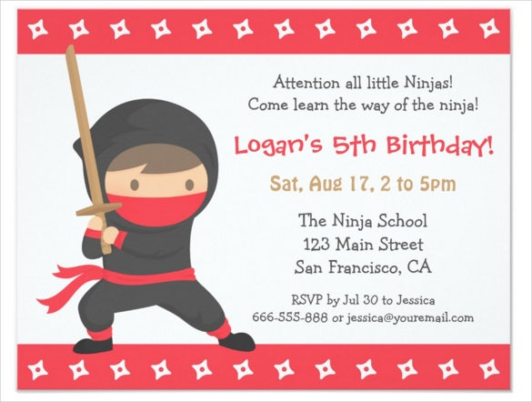 ninja themed kids birthday invitation