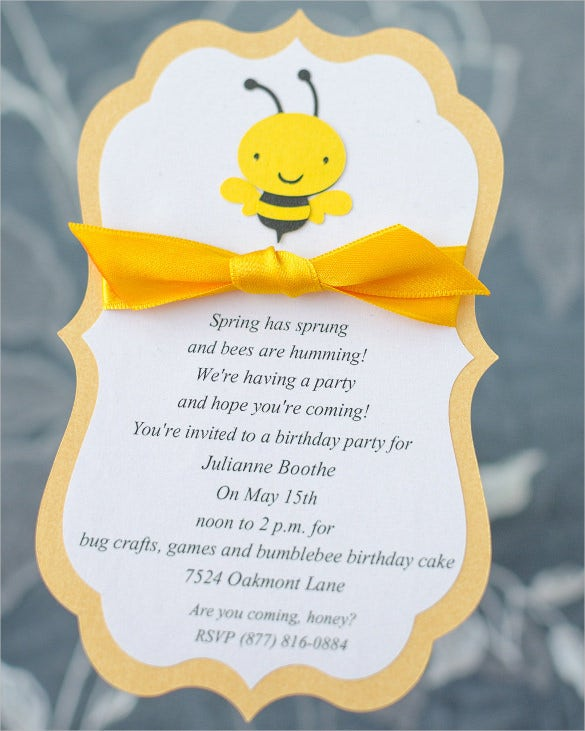 Cute Yellow Ribbon Girl Kids Birthday Invitation
