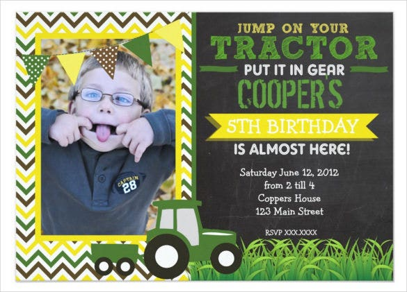 green chevron kids birthday invitation with photograph