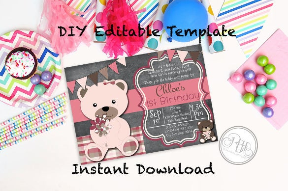 teddy bear picnic birthday invitation baby shower