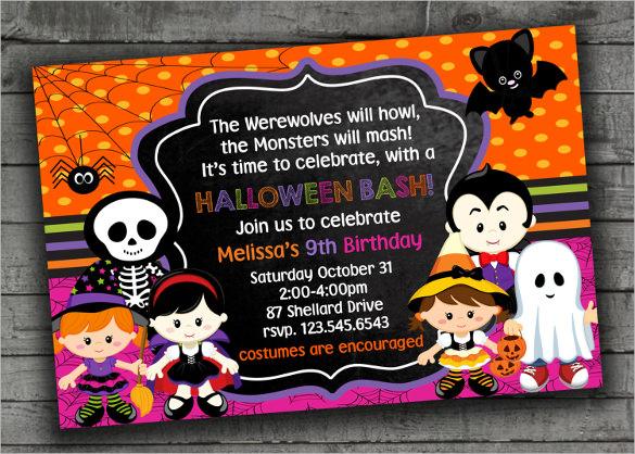 halloween themed kids birthday invitation