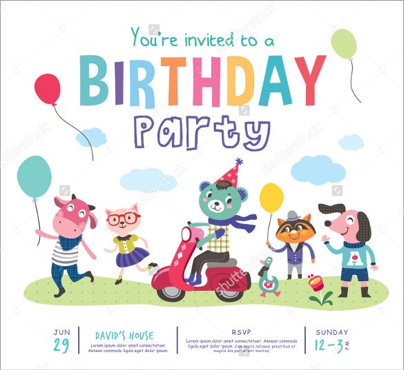 animated cartoons kids birthday party invitation