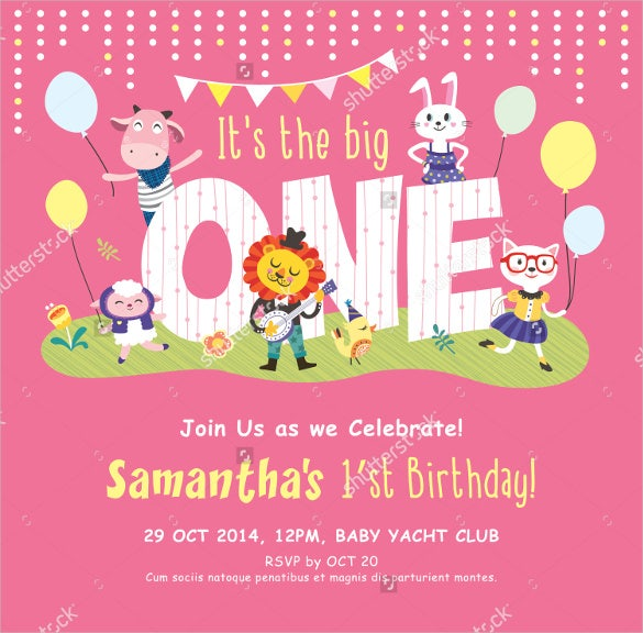 pink colour animals kids birthday invitation