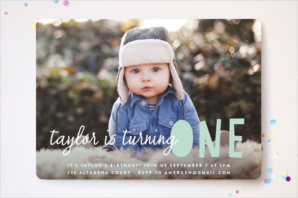 cute kids birthday invitation with photograph