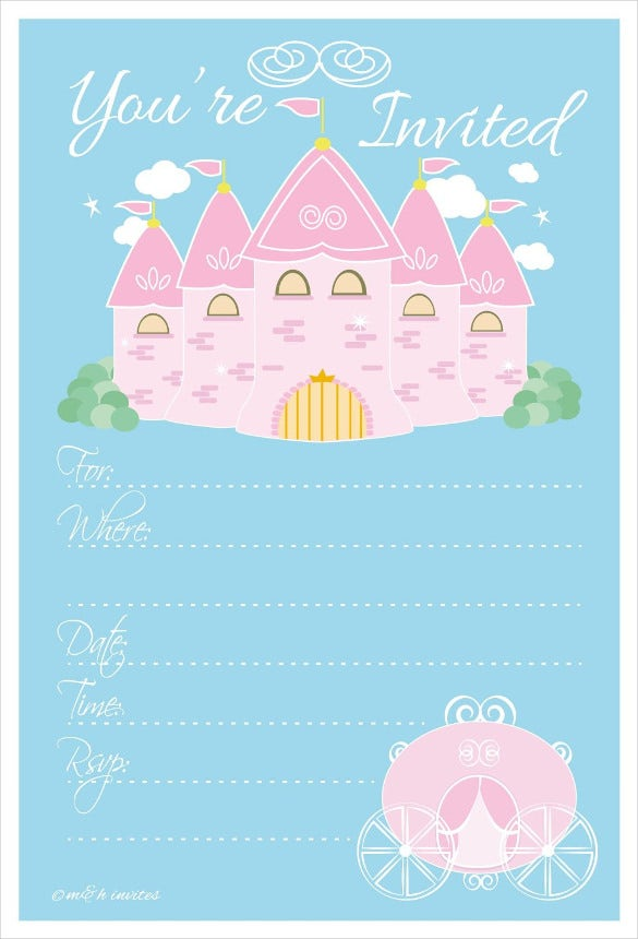 princess kids birthday party invitations with envelopes
