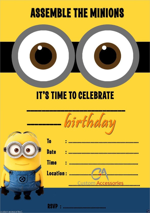despicable me kids birthday invitations