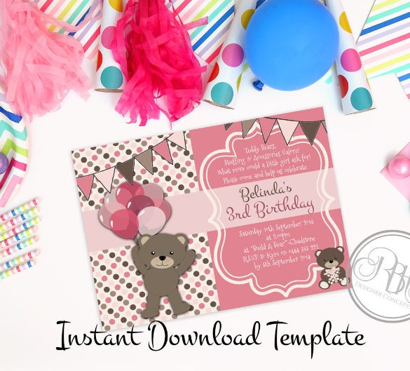 picnic balloons pink diy invitation – printable