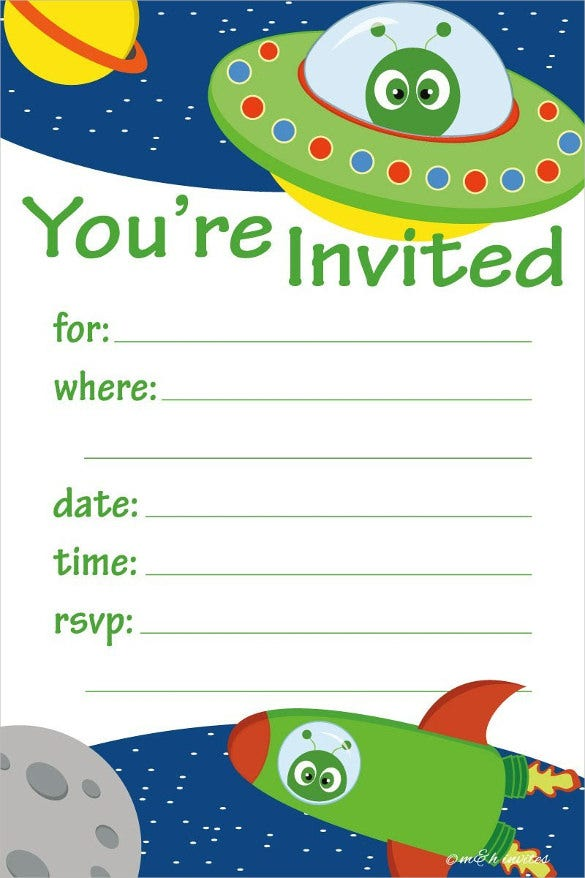 Space Alien Theme Kids Birthday Party Invitations