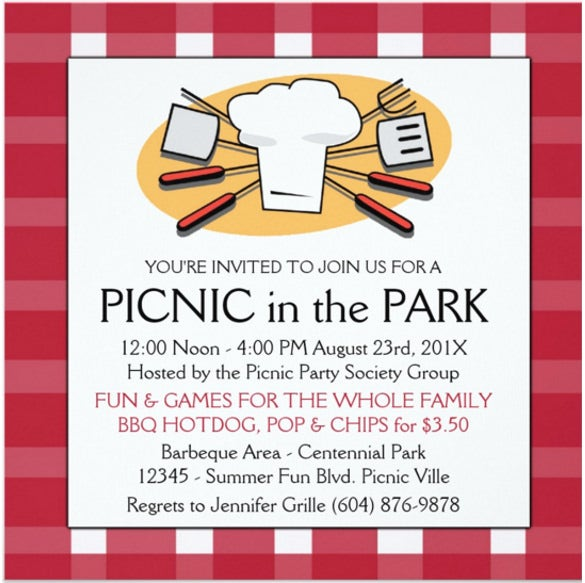 fun plaid table cloth summer picnic bbq invitation