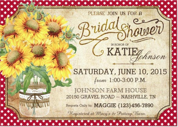sunflowers gingham country picnic bridal shower invitation card