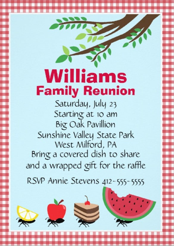 customizable family reunion picnic paper invitation card
