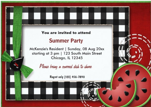summer picnic 5x7 paper invitation card