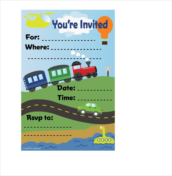 train theme kids birthday invitations