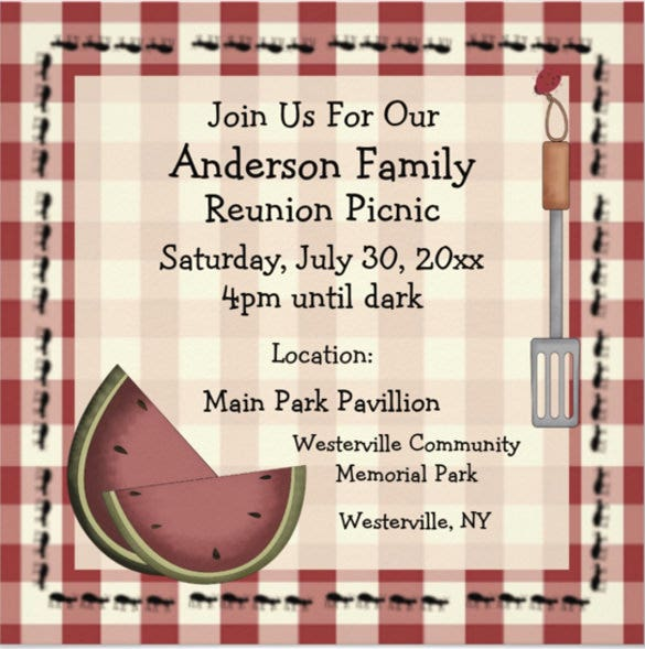 ants and watermelon summer picnic invitation