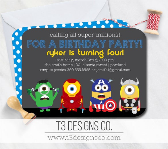 Minions Inspired Superhero Birthday Invitation